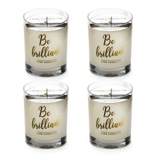 Fresh Lemon Aromatherapy Soy Candle, Low Smoke, Long Burn (4 Pack)