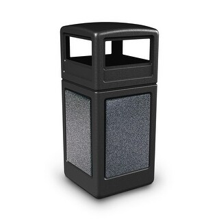 Commercial Zone Products 72041399 42-gallon StoneTec Panel with Dome Lid Black with Pepperstone Panels
