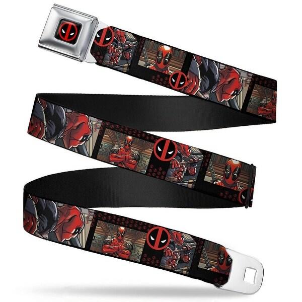 Marvel Universe Deadpool Logo Full Color Black Red White Deadpool Action Seatbelt Belt