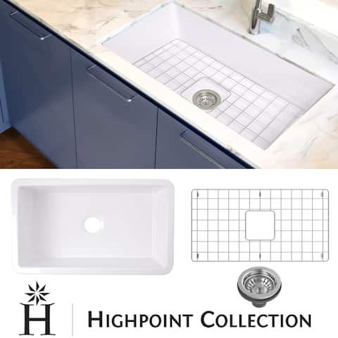 "Highpoint Collection 32-inch Undermount Fireclay Sink with Grid and Drain - 32"" x 19"" x 10"""
