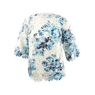 Charter Club Women's Plus Size Floral-Print Lace Top - Blue Chiffon Combo