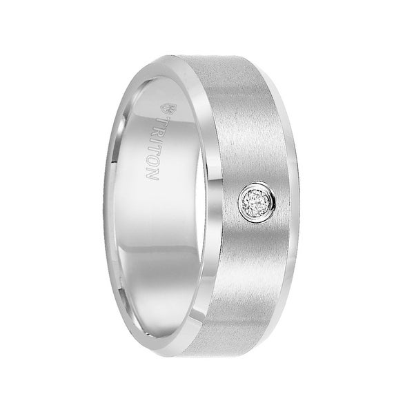 PHINEAS Beveled White Tungsten Carbide Wedding Band with Satin Finish and Solitaire Diamond Setting by Triton Rings - 8 mm
