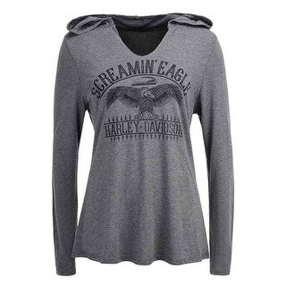 Harley-Davidson Women's Screamin' Eagle On The Fence Hooded Tee, Gray HARLLT0212