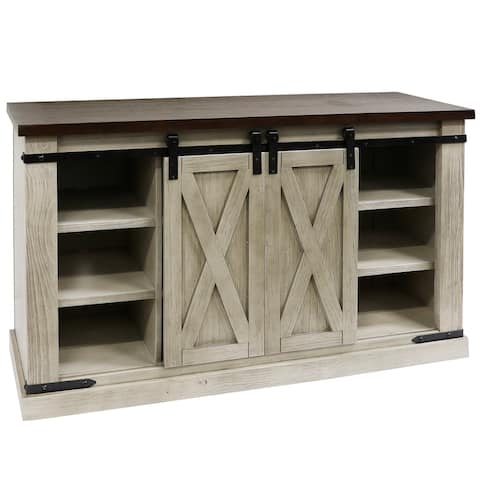 StyleCraft Peachtree X Sliding Barn Door Media Console with Removable Shelves