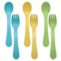 green sprouts Sprout Ware Fork and Spoon, Aqua Assortment, 6 Count