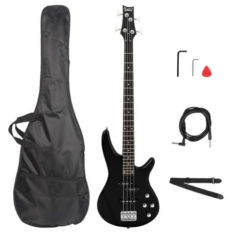 Electric Bass Guitar Full Size 4 String Black