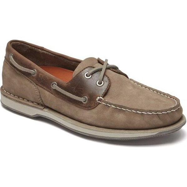 c13952d5b9 Shop Rockport Men s Perth Boat Shoe Taupe Nubuck Beeswax Leather ...