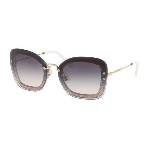 Miu Miu MU 02TS 86LNJ0 65 Transp Dark Violet/glitter Woman Rectangle Sunglasses