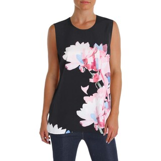 Vince Camuto Womens Petites Pullover Top Matte Jersey Floral Print - ps