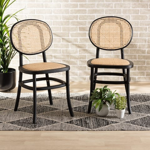 Garold Mid-Century Modern Woven Rattan and Wood Dining Chair Set(2PC)