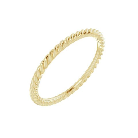 18K Yellow Gold 1.5 mm Skinny Rope Band Ring for Women (Size :5)
