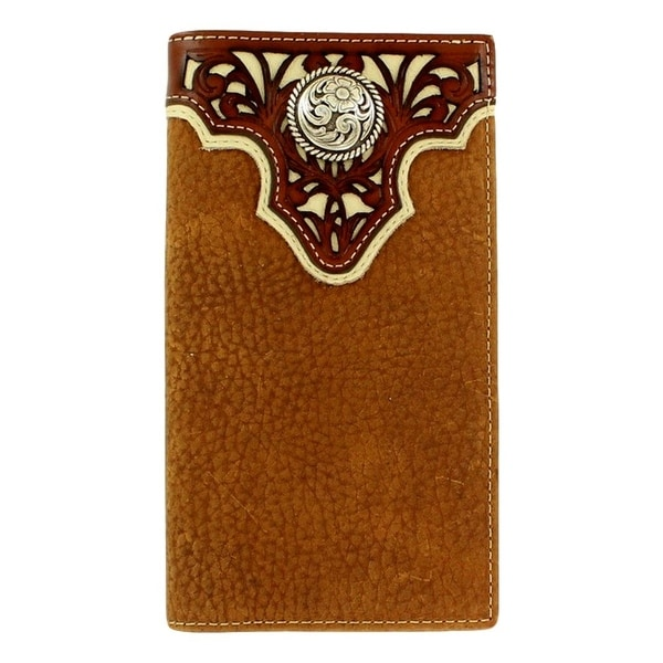 Ariat Western Wallet Mens Rodeo Pierced Overlay Concho Tan - One size