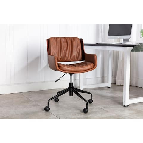 Porthos Home Cory Office Chair, PU Leather, Iron Legs, Roller Wheels