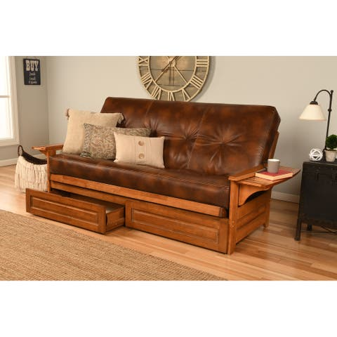 Copper Grove Dixie Honey Oak Full-size Futon Frame with Innerspring Mattress and Storage Drawers