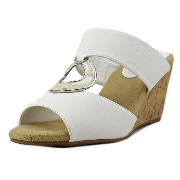 Easy Street Ever Women WW Open Toe Synthetic White Wedge Sandal
