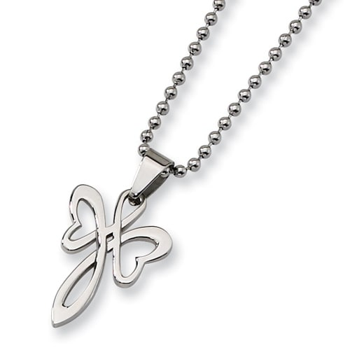 """Chisel Stainless Steel """"Butterfly Cross"""" Necklace on 22 Inch Bead Chain (2 mm) - 22 in"""