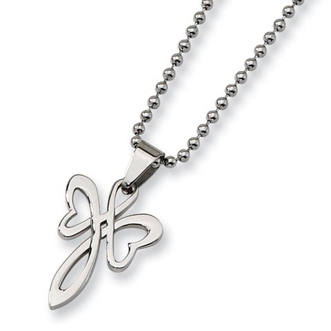 "Chisel Stainless Steel ""Butterfly Cross"" Necklace on 22 Inch Bead Chain (2 mm) - 22 in"
