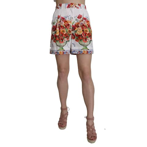 Dolce & Gabbana High Waist Floral Print Cotton Majolica Women's Shorts