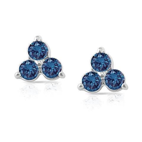 Auriya 1/2ctw 3-stone Blue Diamond Stud Earrings 14k White Gold