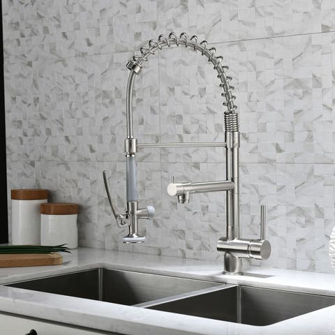 Commercial Pull Down Kitchen Sink Faucet with Sprayer Brushed Nickel
