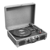 Portable Classic Retro-Style Turntable System with USB-to-PC Connection, Rechargeable Battery (Grey Color)