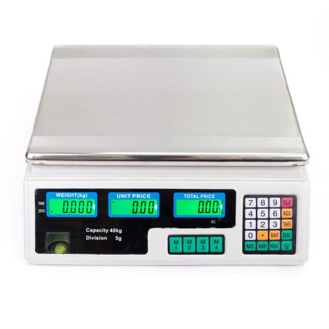 40kg/5g Digital Price Computing Scale for Vegetable Silver & White