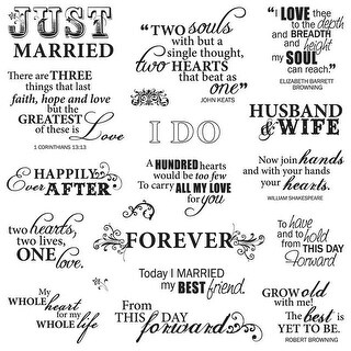 "Fiskars Quote Clear Stamps 8""X8"" -Just Married"