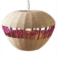 """14.75"""" Hanging Ceiling Pendant Lamp with Woven Jute Apple Shade"""