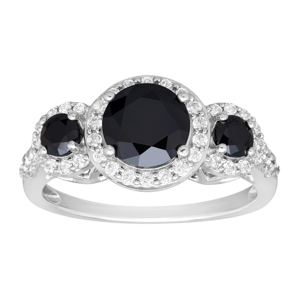 Ring with Black & White Swarovski elements Zirconia in Sterling Silver