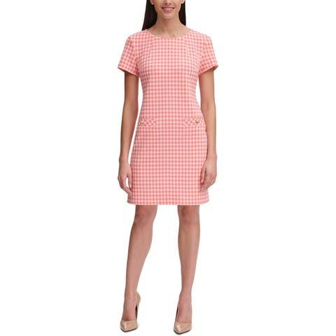 Tommy Hilfiger Womens Cocktail Dress Gingham Pocket - Pink
