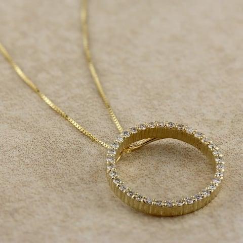 Auriya 0.15 to 1 1/2ctw Diamond Circle Necklace 14k Yellow Gold