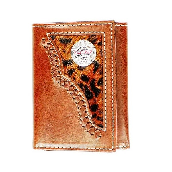PBR Western Wallet Mens Leather Rodeo Trifold Leopard Brown - One size
