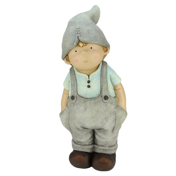 """17.75"""" Young Boy Gnome with Hands in Pockets Spring Outdoor Patio Garden Statue"""