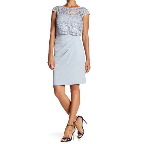 Marina Women's Metallic lace Popover Dress, Blue, 10