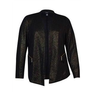 Alfani Women's Metallic Zip-Pocket Knit Blazer (XL, Deep Black) - Deep Black