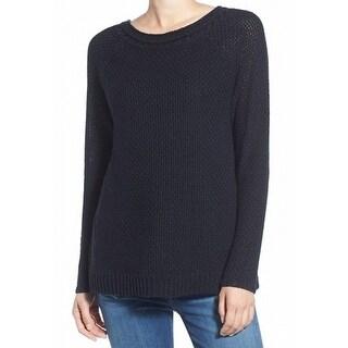Hinge NEW Black Womens Size XS Surplice Back Boat Neck Sweater