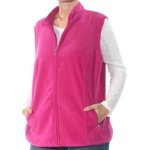 Karen Scott Womens Vest Cranberry Pink Size 3X Plus Fleece Full Zip