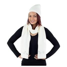 2-Piece Hat and Scarf Knit Set Diamond Shape Rhinestone Applique