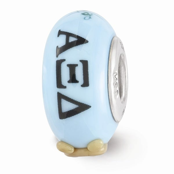 Sterling Silver Reflections Blue Hand Painted Alpha Xi Delta Glass Bead