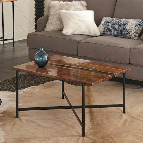 Carbon Loft Galvan 36-inch Acacia Wood and Acrylic Coffee Table