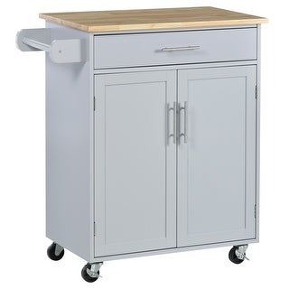 Link to HOMCOM Wooden Kitchen Large Storage Island on 360° Swivel Wheels Cart with Drawer, Interior Cabinet & Towel Rack Similar Items in Kitchen Carts