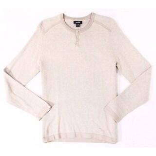 Alfani Heather Beige Mens Size 2XL Long Sleeve Henley Shirt