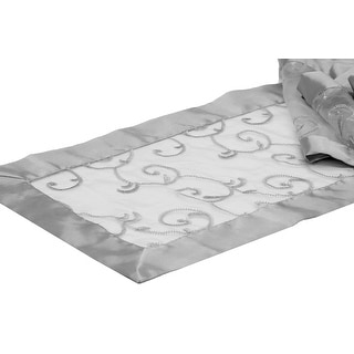 """Swirl Embroidery Table Runner Approx. 12"""" x 106"""" Edge: Folded Ribbon - Silver, 1 Piece"""