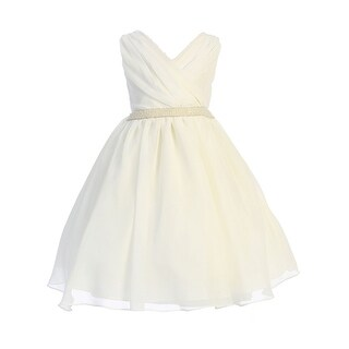 Link to Ellie Kids Ivory Cross Body Rhinestone Chiffon Easter Dress Big Girls Similar Items in Girls' Clothing