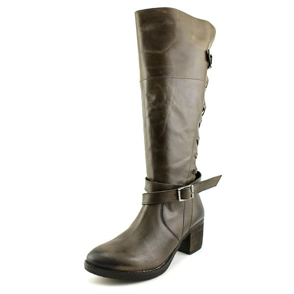 Report Jadon Women Round Toe Leather Brown Knee High Boot