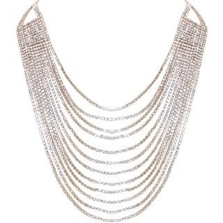 Humble Chic Darling Waterfall Bib Necklace Multi-Strand Chain CZ Simulated Diamond Collar