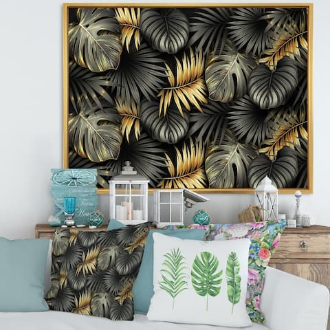 Designart 'Black and Gold Tropical Leaves II' Modern Framed Canvas Wall Art Print