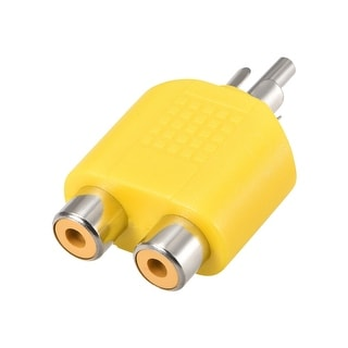 RCA Male to 2 RCA Female Splitter Yellow for Stereo Audio Video Cable Convert