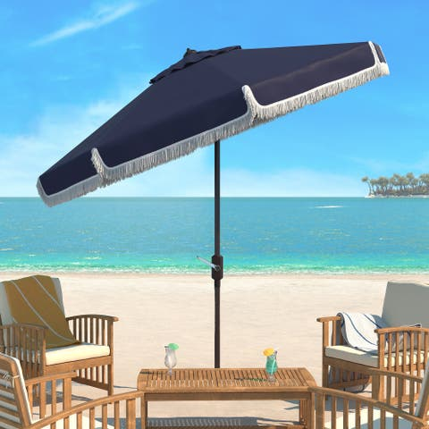 SAFAVIEH Milan Fringe 9 Ft Crank Navy/ White Outdoor Umbrella