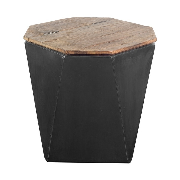 """Mercana Esagono II 19.3"""" x 20.9"""" Black Metal and Natural Wood Hinged-Top End/Side Table - 19.3L x 19.3W x 20.9H. Opens flyout."""